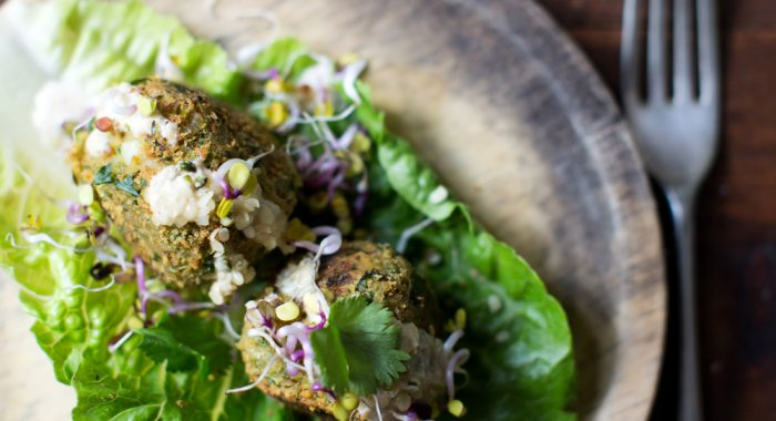 Falafels in Lettuce Wraps with Tahini Dressing