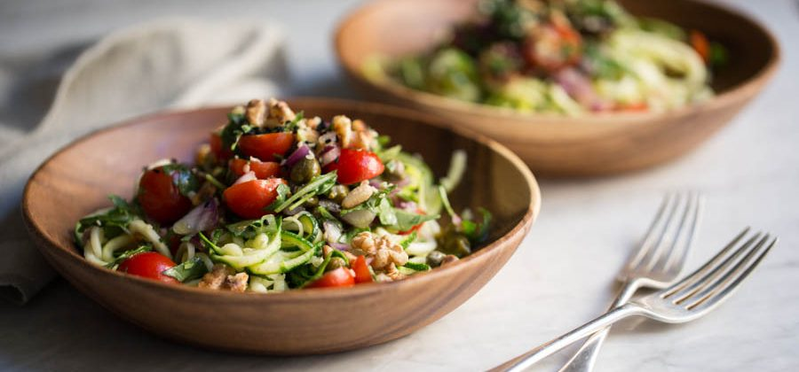 Courgetti with Rocket & Cherry Tomato Salsa
