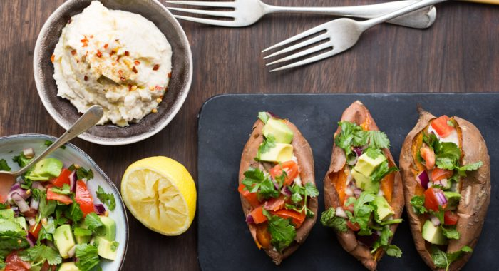 Baked Sweet Potatoes with Avocado Salsa and Cannellini Bean Hummus